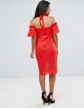 photo Bardot Lace Dress by Hope & Ivy Maternity, color Red - Image 2