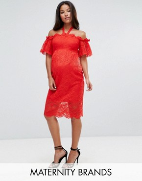 photo Bardot Lace Dress by Hope & Ivy Maternity, color Red - Image 1
