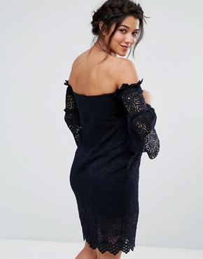 photo Bardot Lace Pencil Dress with Fluted Sleeve Detail by Hope & Ivy Maternity, color Navy - Image 2