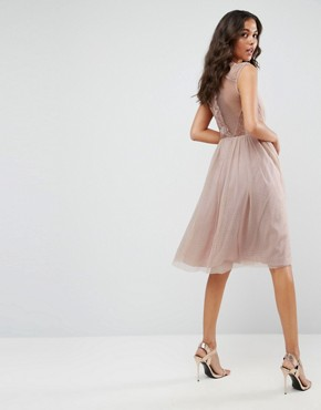 photo Lace Tulle Cap Sleeve Midi Dress by ASOS, color Mink - Image 2