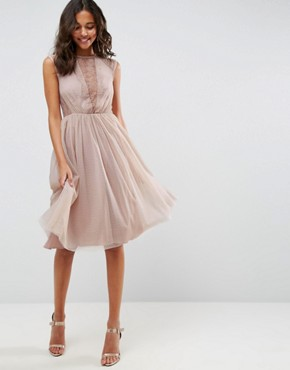 photo Lace Tulle Cap Sleeve Midi Dress by ASOS, color Mink - Image 1