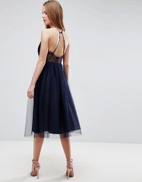 photo Lace Panelled Tulle Mesh Midi Dress by ASOS, color Navy - Image 2