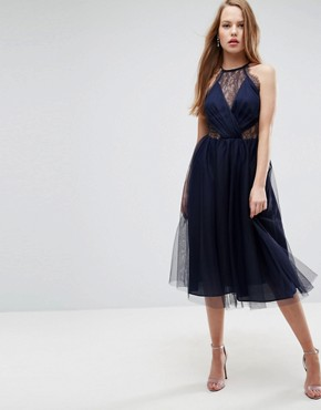 photo Lace Panelled Tulle Mesh Midi Dress by ASOS, color Navy - Image 1