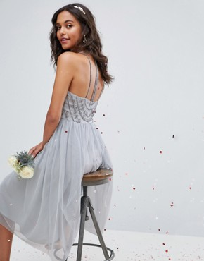 photo Delicate Beaded Strappy Back Midi Dress by ASOS WEDDING, color Grey - Image 2