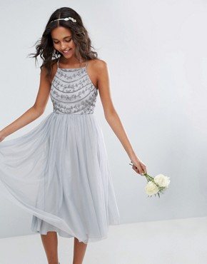 photo Delicate Beaded Strappy Back Midi Dress by ASOS WEDDING, color Grey - Image 1