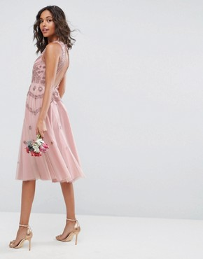 photo Iridescent Delicate Beaded Open Back Skater Midi Dress by ASOS WEDDING, color Nude - Image 2
