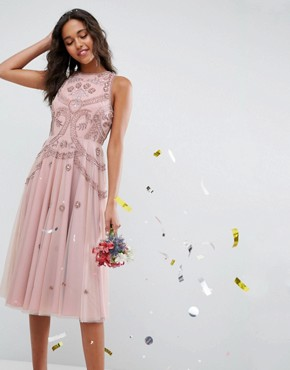 photo Iridescent Delicate Beaded Open Back Skater Midi Dress by ASOS WEDDING, color Nude - Image 1