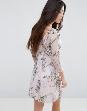 photo Floral Print Wrap Mesh Dress by New Look Petite, color Pink Pattern - Image 2