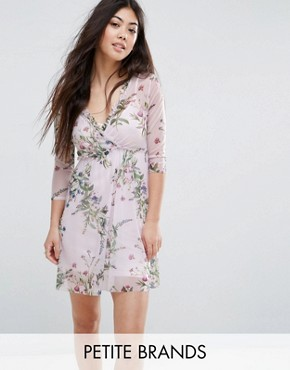 photo Floral Print Wrap Mesh Dress by New Look Petite, color Pink Pattern - Image 1