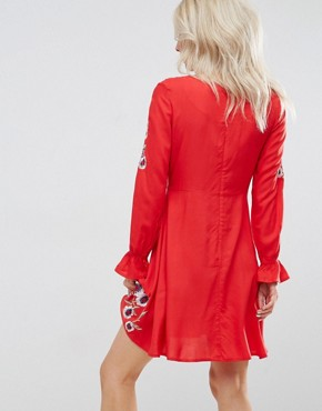 photo Poppy Embroidered Skater Dress by New Look Petite, color Red Pattern - Image 2