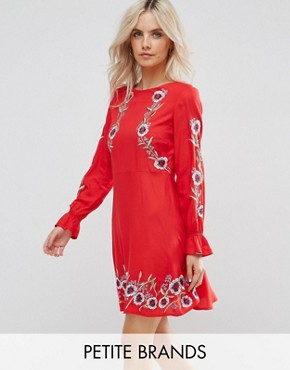 photo Poppy Embroidered Skater Dress by New Look Petite, color Red Pattern - Image 1