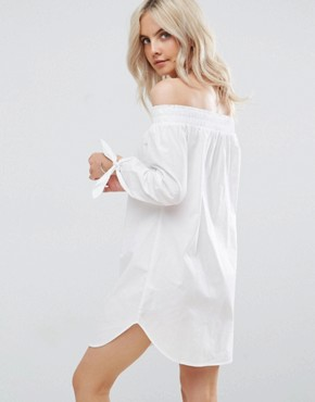 photo Poplin Bardot Dress by New Look Petite, color White - Image 2