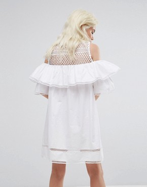 photo Cold Shoulder Mesh Dress by New Look Petite, color White - Image 2