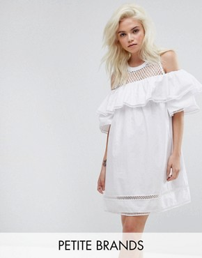 photo Cold Shoulder Mesh Dress by New Look Petite, color White - Image 1