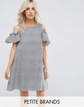 photo Gingham Cold Shoulder Dress by New Look Petite, color Black Pattern - Image 1