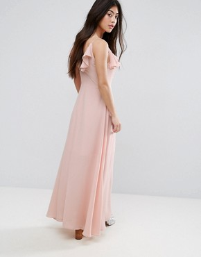 photo Ruffle Cross Back Detail Maxi Dress by New Look Petite, color Nude Pink - Image 2