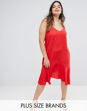photo Peplum Slip Dress by New Look Plus, color Red - Image 1