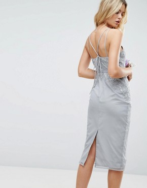 photo Embellished Lace Insert Pencil Midi Dress by ASOS WEDDING, color Grey - Image 2