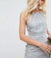 photo Embellished Lace Insert Pencil Midi Dress by ASOS WEDDING, color Grey - Image 3