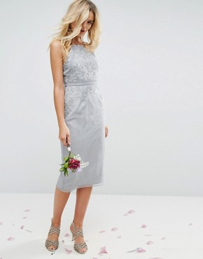 photo Embellished Lace Insert Pencil Midi Dress by ASOS WEDDING, color Grey - Image 4