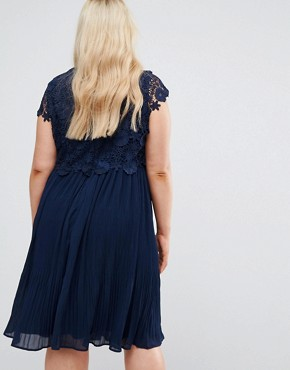 photo Crochet Overlay Pleated Dress by Lovedrobe, color Navy - Image 2