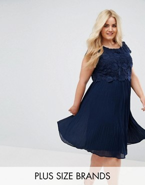 photo Crochet Overlay Pleated Dress by Lovedrobe, color Navy - Image 1