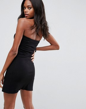 photo Mini Layered Bandeau Ribbed Dress by ASOS, color Black - Image 2