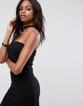 photo Mini Layered Bandeau Ribbed Dress by ASOS, color Black - Image 3