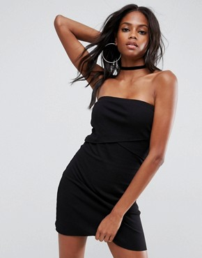 photo Mini Layered Bandeau Ribbed Dress by ASOS, color Black - Image 4