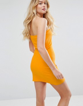 photo Mini Layered Bandeau Ribbed Dress by ASOS, color Marigold - Image 2