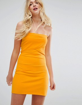 photo Mini Layered Bandeau Ribbed Dress by ASOS, color Marigold - Image 1