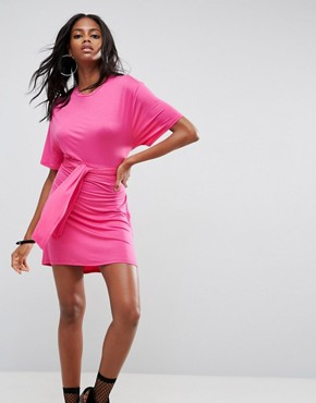photo Mini Dress with Self Tie Belt by ASOS, color Hot Pink - Image 1