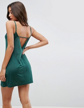 photo Mini Dress with V-Back in Slinky by ASOS, color Forest Green - Image 1