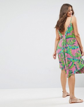 photo Cami Beach Dress in Bright Tropical Print by ASOS CURVE, color Multi - Image 2