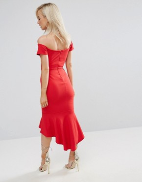 photo Off Shoulder Ruffle Midi Dress by John Zack Petite, color Red - Image 2