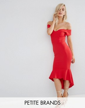 Off Shoulder Ruffle Midi Dress by John Zack Petite - Red c9c4940ee