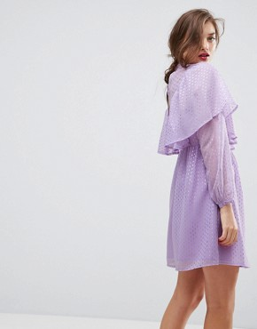 photo Metallic Spot Ruffle Smock Dress by ASOS, color Lilac - Image 2