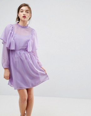 photo Metallic Spot Ruffle Smock Dress by ASOS, color Lilac - Image 1