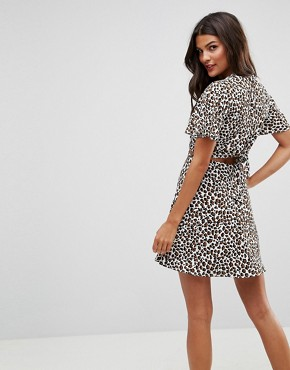 photo Cut Out Mini Tea Dress in Leopard by ASOS, color Multi - Image 2