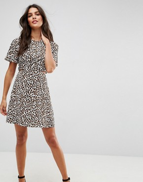 photo Cut Out Mini Tea Dress in Leopard by ASOS, color Multi - Image 1