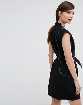 photo Right Now Wrap Mini Dress by C/meo Collective, color Black - Image 2