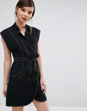 photo Right Now Wrap Mini Dress by C/meo Collective, color Black - Image 1