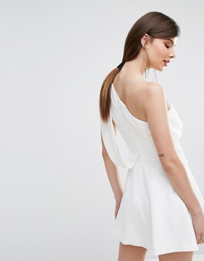 photo Don't Stop One Shoulder Mini Dress by C/meo Collective, color Ivory - Image 2