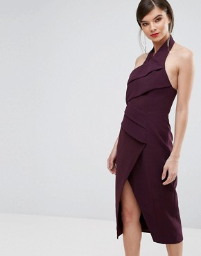 photo Don't Stop Midi Dress by C/meo Collective, color Aubergine - Image 1