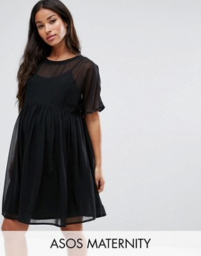 photo Woven Smock Dress by ASOS Maternity, color Black - Image 1