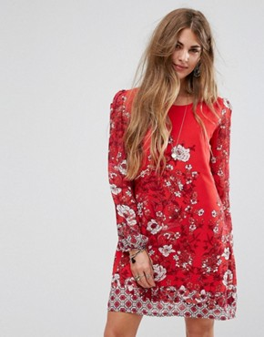 photo Border Print Shift Dress by Yumi, color Red - Image 1