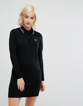 photo Knitted Polo Dress by Fred Perry, color Black - Image 1