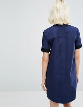 photo Bomber Dress by Fred Perry, color Medieval Blue - Image 2