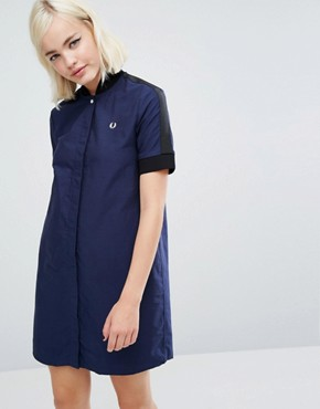 photo Bomber Dress by Fred Perry, color Medieval Blue - Image 1