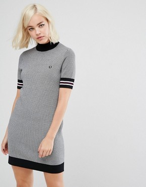 photo High Neck Knitted Dress with Houndstooth Print by Fred Perry, color Black - Image 1